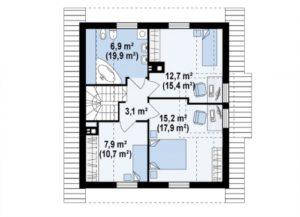 Небольшой двухэтажный дом с кабинетом 120 кв.м