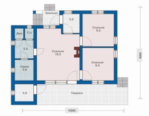 Дом с крыльцом и большой террасой 54 кв.м