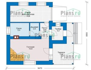 Двухэтажный дом с крыльцом и большим гаражом 84 кв.м