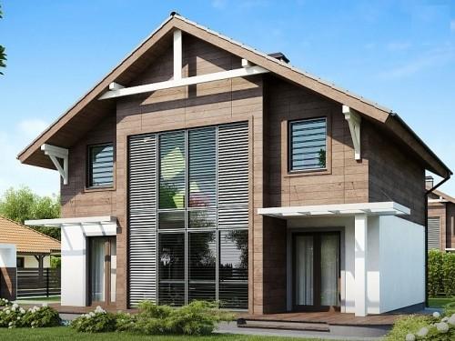Двухэтажный дом с витражными окнами 122 кв.м