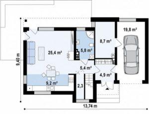 Дом два этажа в стиле модерн с гаражом и террасой 147 кв.м