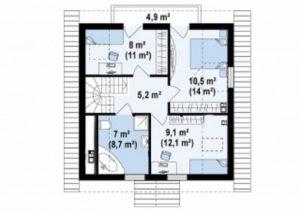 Традиционный дом с красивой мансардой 107 кв.м