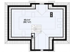 Дом в старинном стиле, чердачным помещением, 110 кв.м.