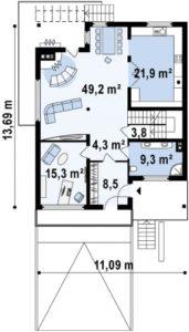 Двухэтажный дом с подвальным помещением, 347 кв.м