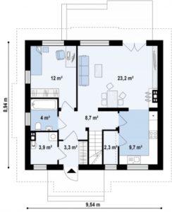 Современный два этажа дом с большими комнатами 132 кв.м