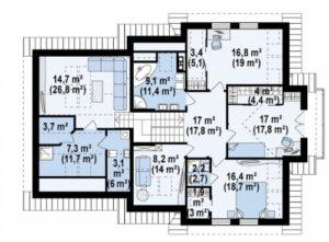Большой дом с  гостиной на втором этаже, 320 кв.м.