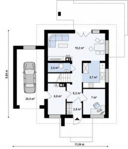 Дом с гаражом, с заездом с левой стороны, 128 кв.м