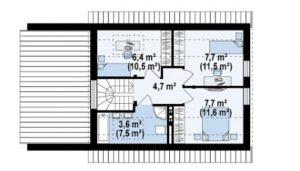 Современный дом с гаражом на 1 авто 116,1 кв.м