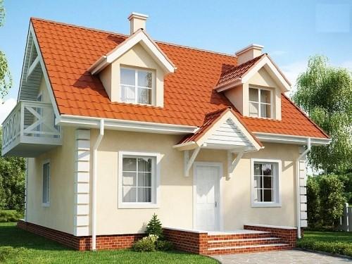 Дом с двускатной крышей и красивыми мансардными окнами, 110 кв.м