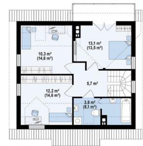 Небольшой дом с террасой и камином, 112 кв.м
