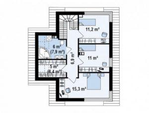 Небольшой двухэтажный дом с витражными окнами, 122 кв.м