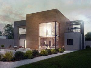 Двухэтажный дом с большой площадью остекления, 242 кв.м