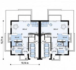 Дом спарка на две семьи 205 кв.м
