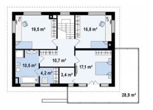 Надежный двухэтажный дом с низкой крышей 197 кв.м