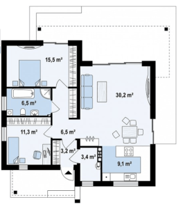 Дом в хайтек стиле 86 кв.м