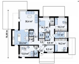 Дом в хайтек стиле с четырьмя спальнями 160 кв.м