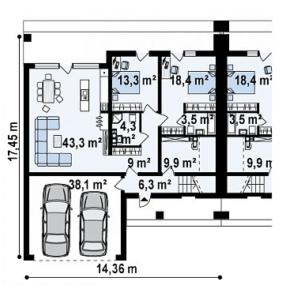 Дом в сплит исполнении на две семьи 192 кв.м