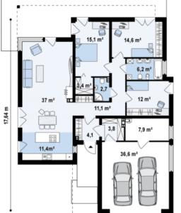 Дом стиль модерн с гаражом на 2 авто 165 кв.м