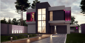 Проект современного дома с витражными окнами 214 кв.м