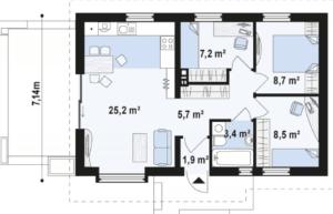 Недорогой в постройке одноэтажный дом 62 кв.м