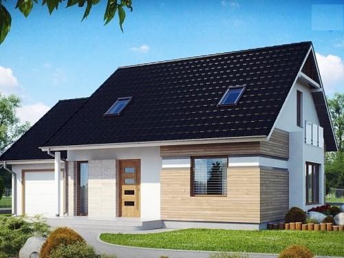 Дом с мансардой, гаражом и эркером 150 кв.м